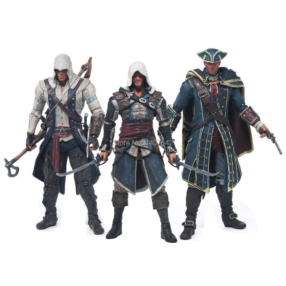 18cm New <font><b>Assassins</b></font> <font><b>Creed</b></font> 4 Edward Kenna Heythan Kenw Connor Collection Model PVC Cartoon <font><b>Action</b></font> <font><b>Figures</b></font>