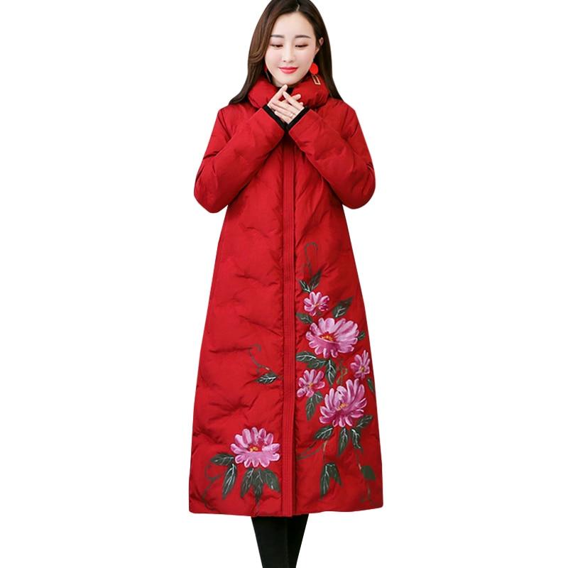 Mode red D'hiver Chaud Parkas Black Taille Nouvelle Survêtement Le Bas Femmes Impression N740 Vers Femelle Mince Grande National Manteau Longue Vent Coton Veste PwBqfwnFp