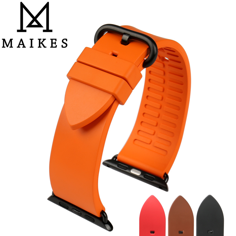 New fashion color orange fluororubber rubber watch strap for sports apple watch band 42mm 38mm series 1 & 2 iwatch watchbands