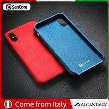 SanCore iPhone X XS Max чехол для телефона кожаный Алькантара Fasion бизнес анти-осенняя кожа роскошный Премиум мобильный телефон анти-износ замша