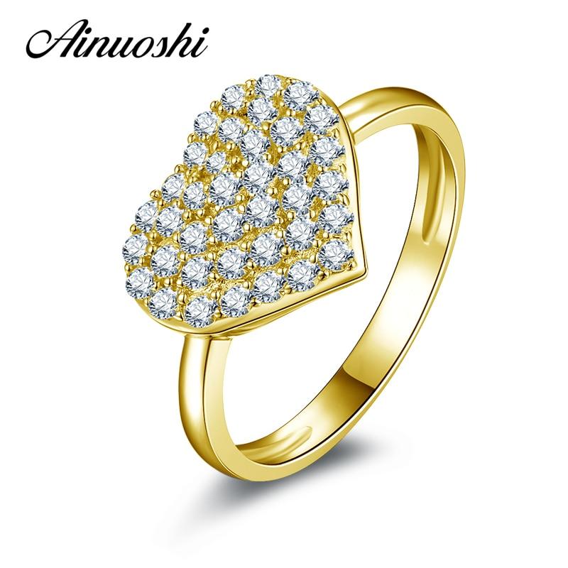 AINUOSHI 10K Solid Yellow Gold Women Wedding Ring Sona Simulated Diamond Jewelry Female Heart Shape Wedding Engagement Rings