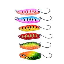 6ชิ้น/ล็อต3.5G/4.5G/5G Fishing Tackleเหยื่อตกปลาโลหะช้อนเหยื่อปลาเทราท์เบสช้อนขนาดเล็กHard Sequins Spinnerช้อน