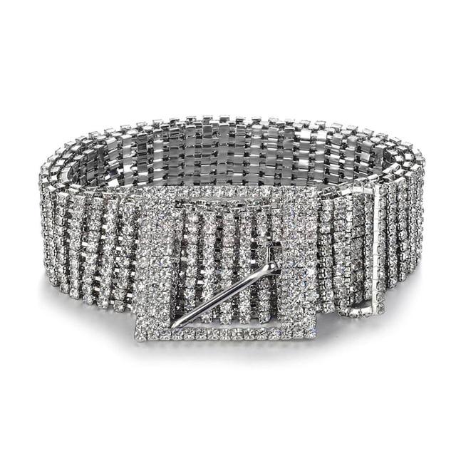 Fashion luxury ten row bright full rhinestone inlaid women's belt female bride wide bling crystal diamond waist chain belt