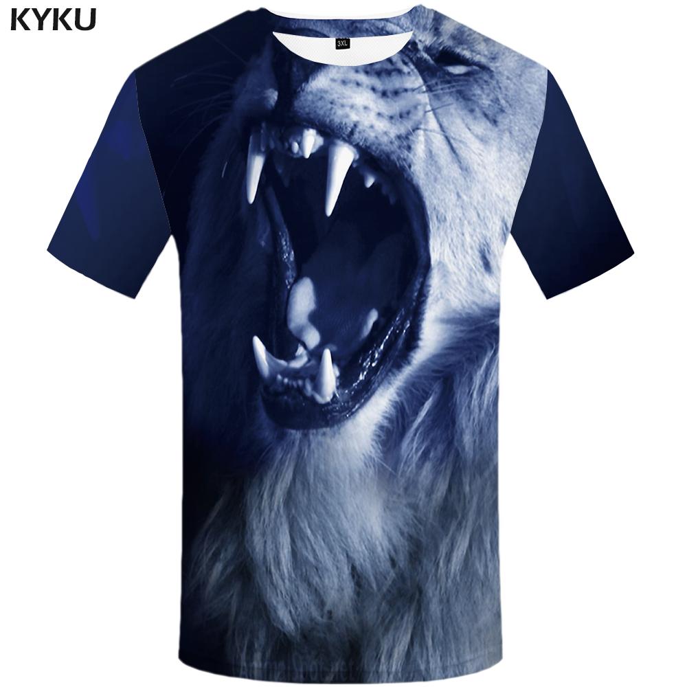 KYKU Brand Lion T Shirt Women T-shirt Animal Gothic Tshirt Black Tee Shirt Print 3d Print Streetwear Woman Clothes