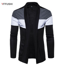 YFFUSHI 2017 New Fashion Sweater Men Spring Autumn Cardigan Men Navy Black Sweaters Casual Style Constract Color