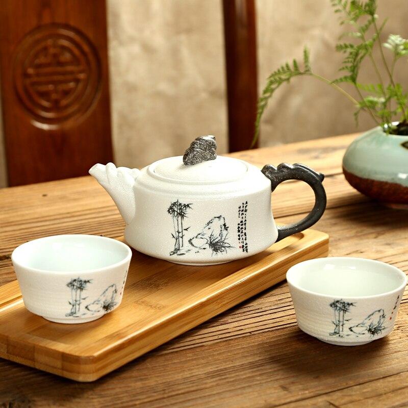 Exquisite Tea Set Ge Kiln Kung fu tea set for Puer tea Travel Ceramic Tea Set One teapot 170ml & two cups 35ml|Teaware Sets|Home & Garden - title=