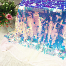 60*130CM Oval Iridescent Party Disposable Tablecloths Wedding Birthday Christmas House DIY Clothes Table Mermaid Party Decor