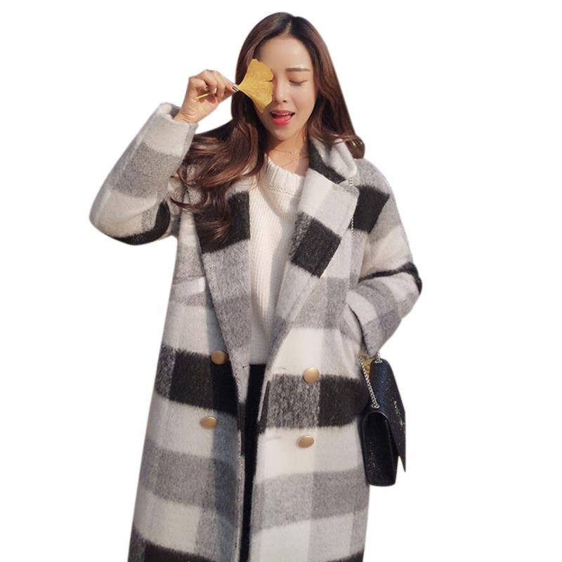 Faithful Womens Autumn Winter Woolen Coat Black White Plaid Checked Thickened Jacket Warm Lapel Collar Cardigan Ture 100% Guarantee