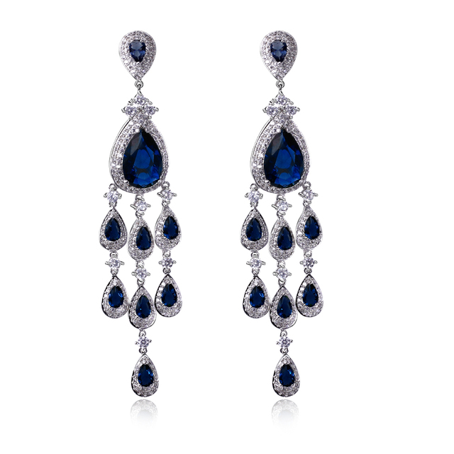 DC1989 Wedding High quality Luxury Rhodium Gold Plated 8 colors Synthetic Cubic Zirconia Women Drop Earrings Anniversary Gifts