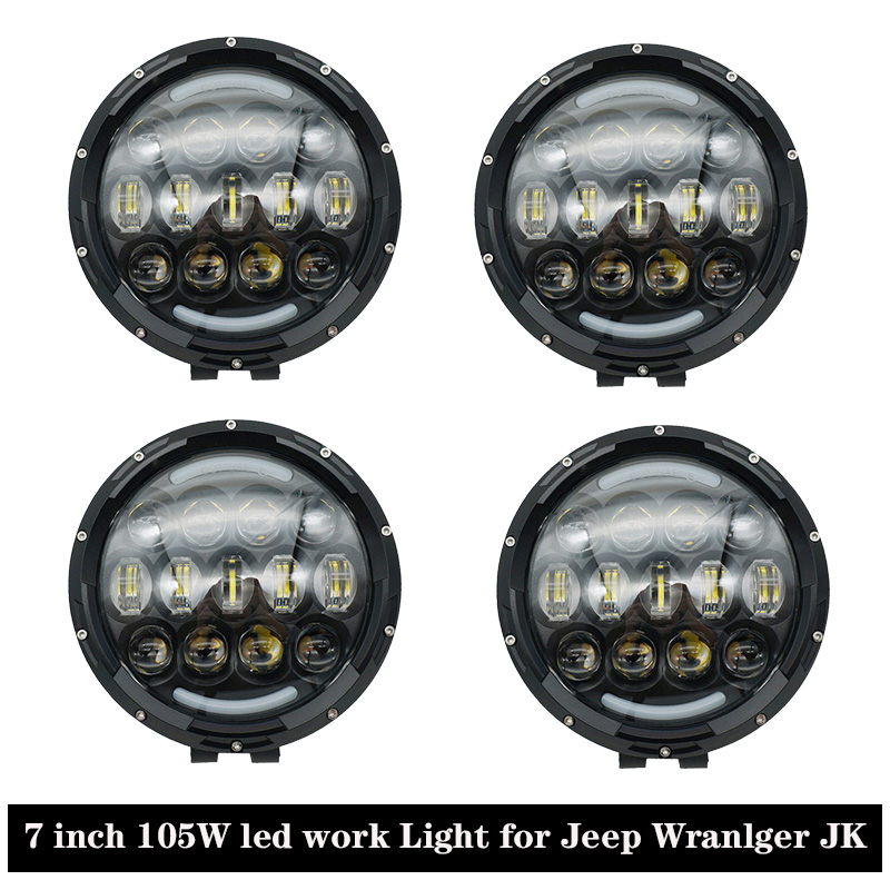 Accessoires de voiture 7 pouces 105 W LED lumière de travail haute basse faisceau LED lumière d'inondation avec blanc DRL pour Jeep Offroad 4x4 camions SUV