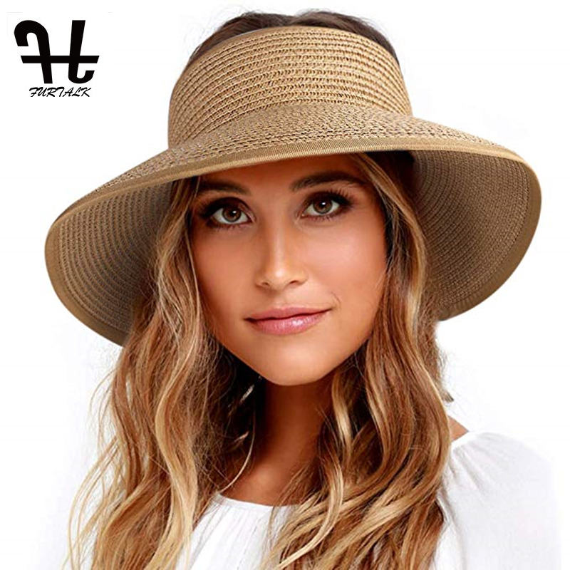 FURTALK Sun Visor Hats Women Summer Ponytail Straw Hat UPF 50+ UV Protection Wide Brim Foldable Roll Up Beach Hats For Female