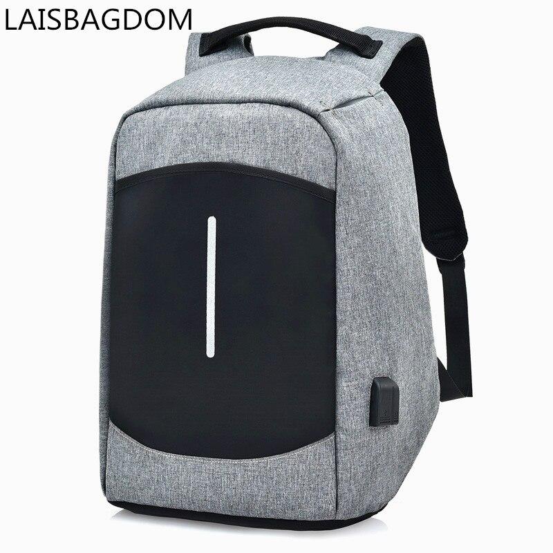 Hidden Zipper Anti-theft Laptop Backpack USB Charging Business Travel Bag Waterproof Sch ...