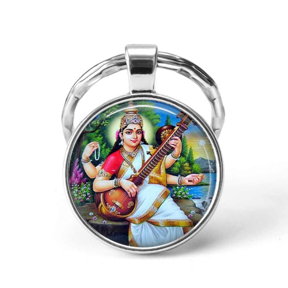 2019 อินเดียศาสนา Key พระเจ้า Brahma พระศิวะพระนารายณ์แก้วเครื่องประดับ Cabochon จี้แหวนพวงกุญแจแฟชั่นเครื่องประดับ