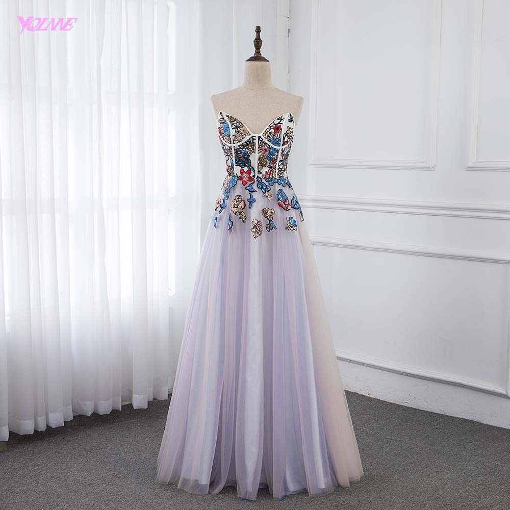 Colorful Sequins Long Evening Dresses Sweetheart Tulle Formal Evening Gown Robe De Soiree YQLNNE
