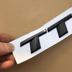 Czarny błyszczący chrom srebrny S RS TT TTS TTRS list godło znaczek do stylizacji samochodu naklejki Trunk Logo dla Audi TT samochód sportowy najwyższej jakości w Naklejki samochodowe od Samochody i motocykle na