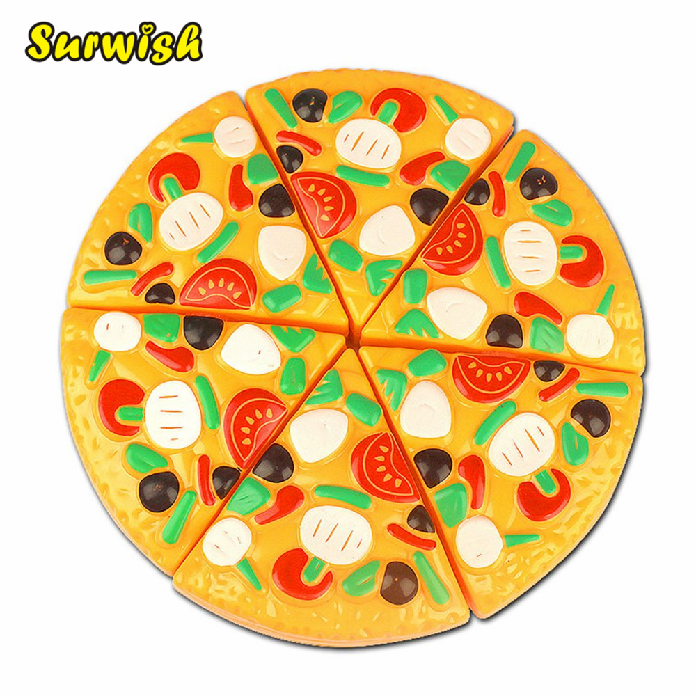 Surwish Cutting Plastic Pizza Toy Food Kitchen <font><b>Pretend</b></font> Play Toy Early Development and Education Toys for Baby Kids Children