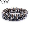 V YA Trendy Watch Bracelets for Men Crystal Jewelry Man's Beads Bracelet Fashion Accessories Charm Bangle for Male