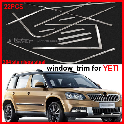window trim sill window frame/cover for Skoda YETI,excellent stainless steel,factory wholesale price,22pcs,upgrade appearance high quality stainless steel 20pcs full window frame b pillar trim cover for volkswagen tiguan 2008 2015