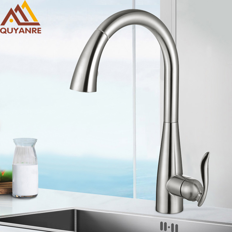 купить Quyanre Brushed Nickel Pull Out Kitchen Faucet Chrome Mixer Tap Single Handle Mixer Tap 360 Rotation Kitchen Water Mixer Tap по цене 4020.26 рублей