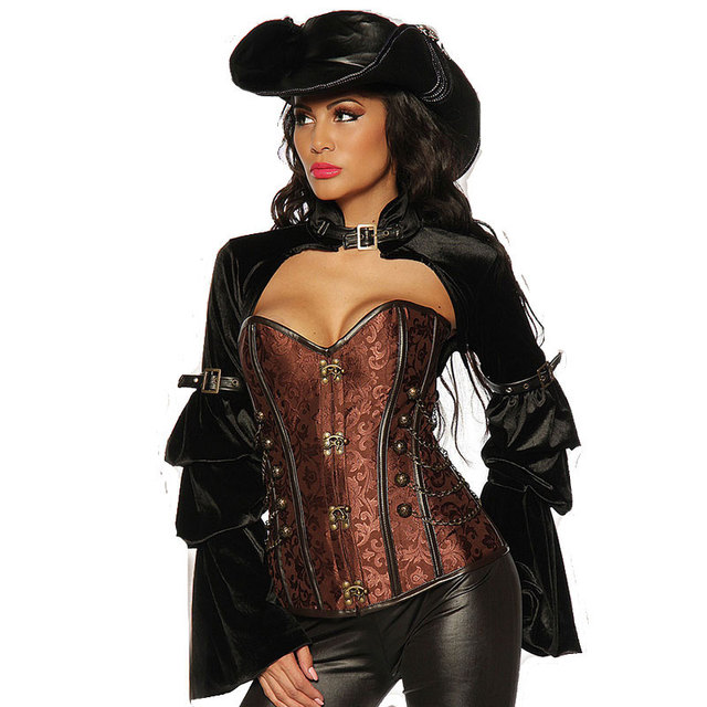 c421d377fe Brown Sexy Halloween Corsets And Bustiers Victorian Burlesque Costume Corset  Jacket Steampunk Clothing Gothic Korsett For