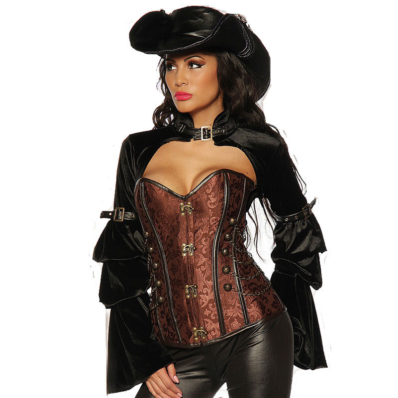brown sexy halloween corsets and bustiers victorian burlesque costume corset jacket steampunk clothing gothic korsett for - Bustier Halloween Costumes