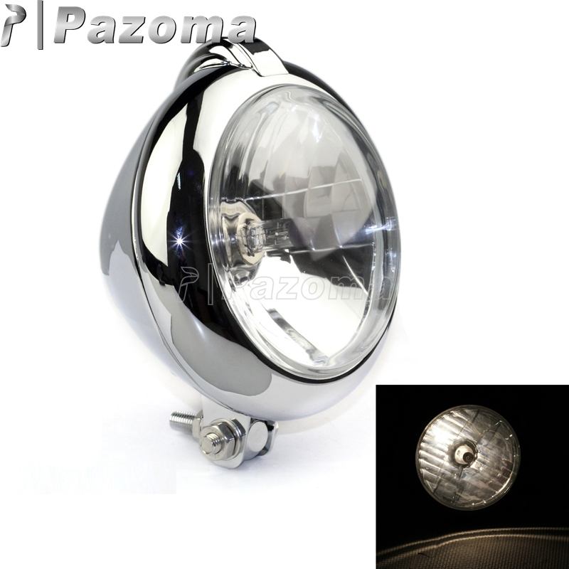 Pazoma Emark Chrome Classic Vintage Unity Head Light Lamp Motorcycle H4 Headlights For Harley Bobber Chopper Custom