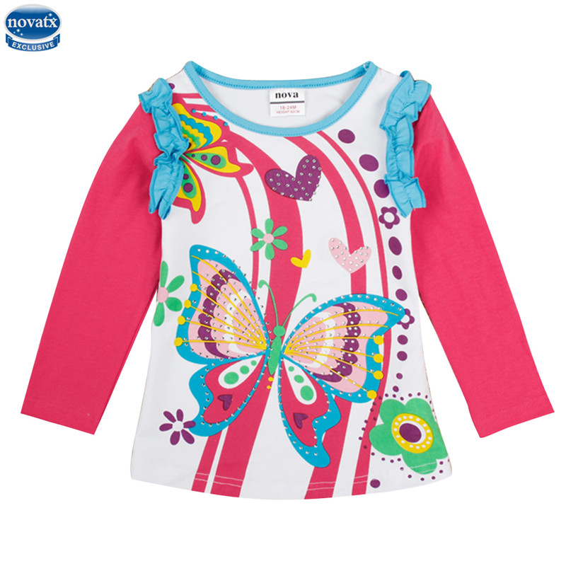 где купить spring/autumn/winter girl t-shirt nova kids children clothes long sleeve colorful striped butterfly flower girl t-shirt дешево