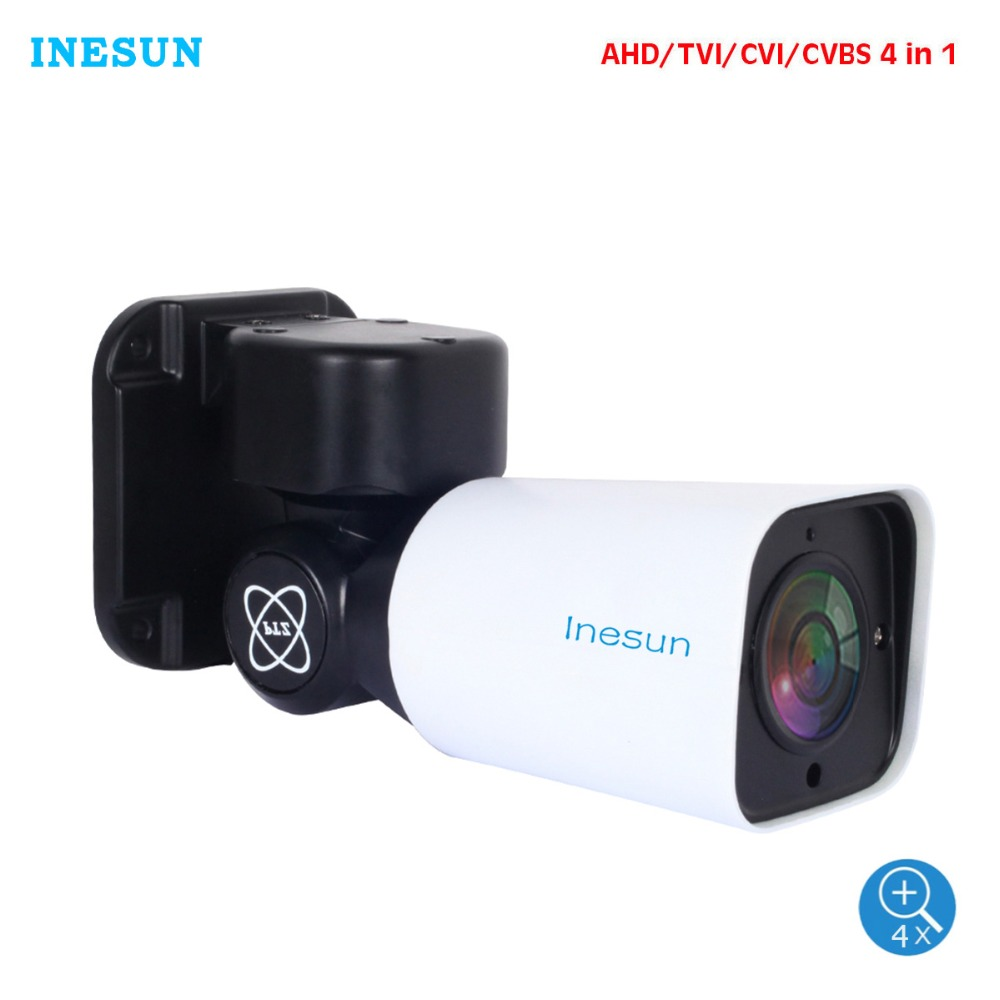 Inesun 2MP/5MP HD AHD PTZ Camera Mini PTZ Bullet Camera 2688x1944P 4X Optical Zoom Outdoor CCTV Camera Support RS485 UTC