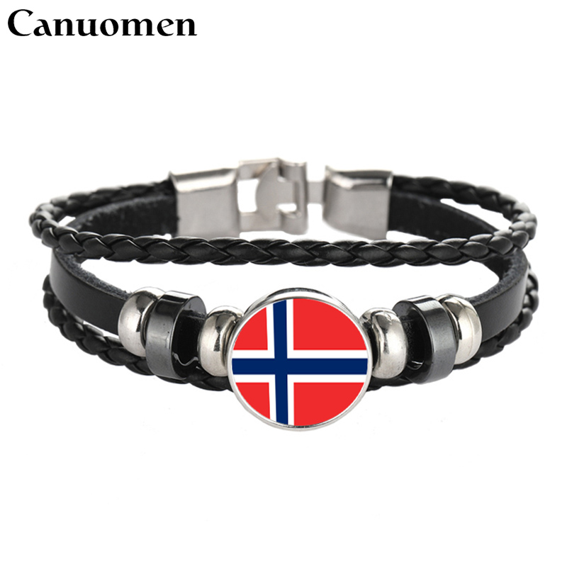 Selfless Canuomen Leather Bracelet Snap Punk Norway Saint Kitts Saint Lucia San Marino Flags Glass Cabochon Charm Women And Men Jewelry Bright Luster Charm Bracelets