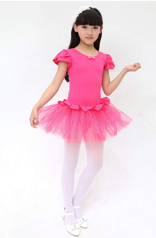 PInk Skyblue Rosy110-150cm exercise Gift Ballet dress Children kid Dance short sleeve stage performance Wear ballet tutu Costume