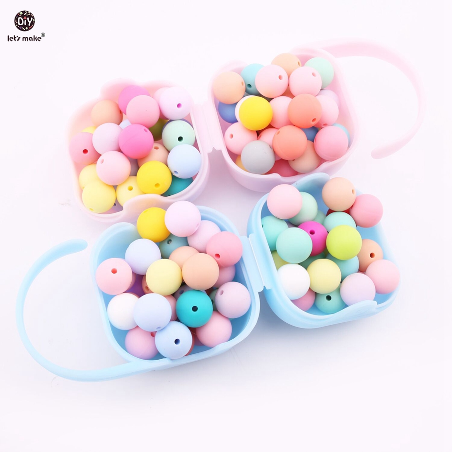 Let's Make Silicone Beads Baby Teething 100pc Teether Beads 12- 20mm Food Grade Nursing Chewing Round Silicone Beads Teether
