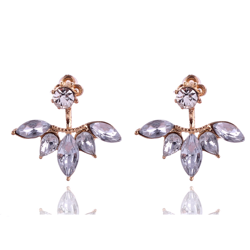 2016 Brand New Golden Silver Cute Small Shining Crystal Leaves Stud Earrings  For Women Fine Jewelry Boucle D'oreille Femme