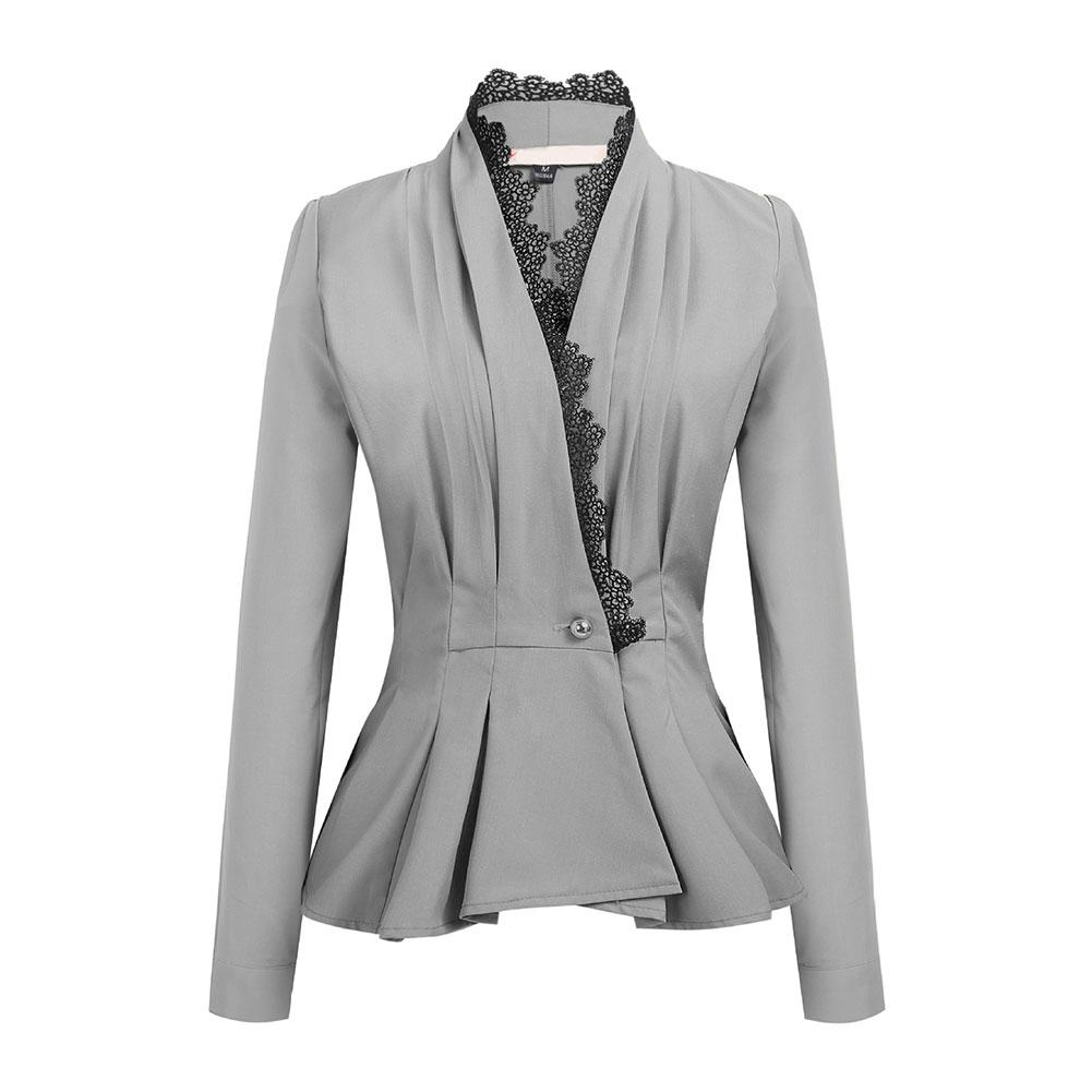 Women Business Lace Trim One Button Long Sleeve Slim Peplum Blazer Jacket Coat Hot