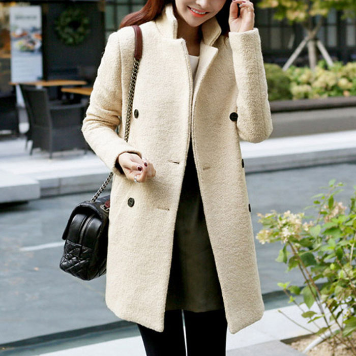 In the new winter 2015 han edition cultivate ones morality show thin long double-breasted woolen cloth coat woman with thick