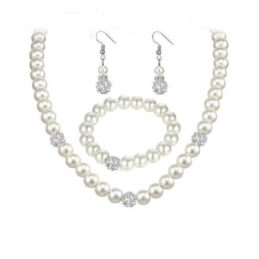 New Simulated-Pearl Wedding Jewelry Set African Clay Ball Beads Wedding Jewelry Pearl Necklace Earrings Chain Bracelet Sets