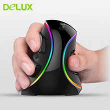 Delux M618 Plus Vertical Wired Mouse Healthy Ergonomic Mouse USB Optical RGB/Blue Light Computer Gaming Mice New Arrival 2017