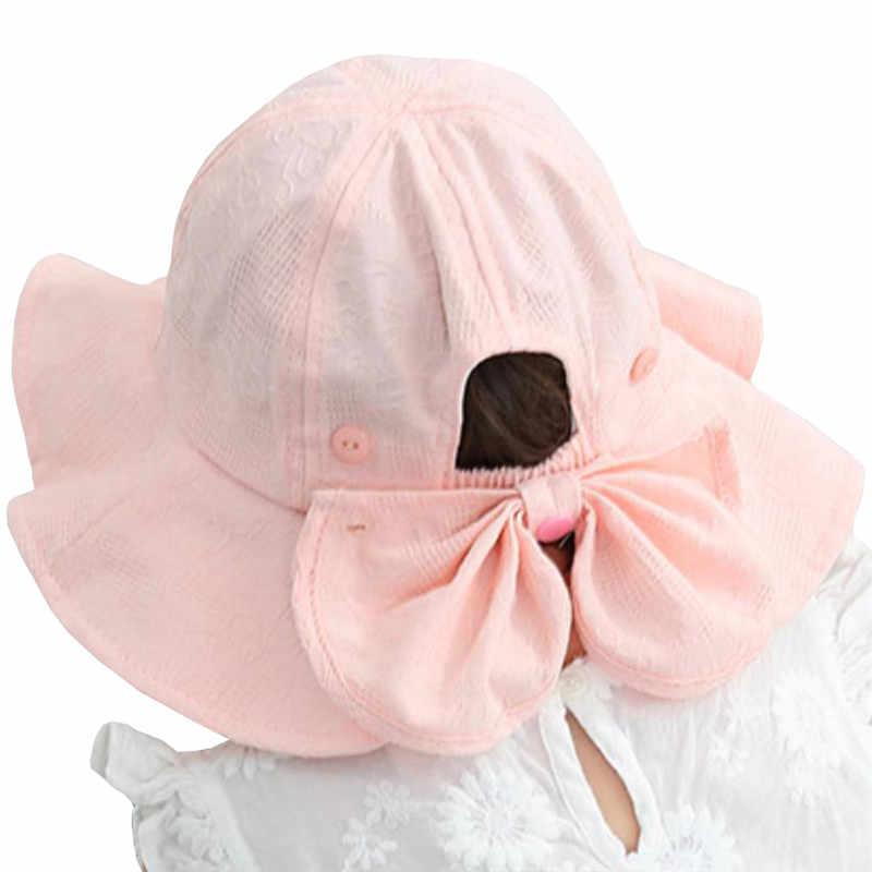 Новая Детская летняя шляпа уличная детская Солнцезащитная Шляпка женская с бантом хлопковые детские колпачки детские пляжные большой край детские шляпы от солнца Кепка с покрывалом