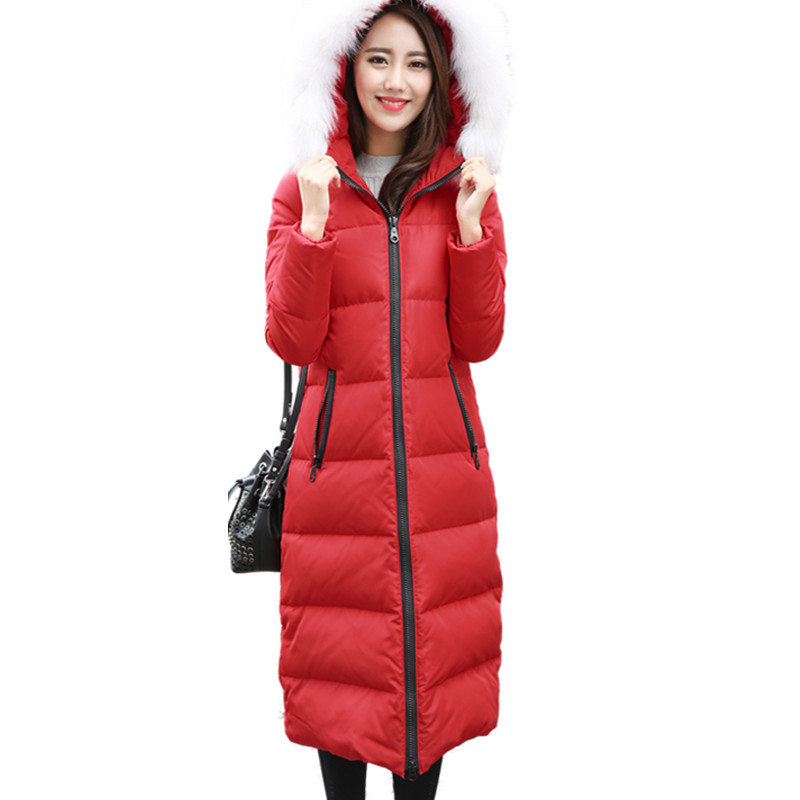 New Fox Fur Collar Winter Down Jacket Women Over Knee Thicken Long Maxi Coats Hooded Plus Size 4XL Cotton Parkas Outwear C3223 2015 new hot winter thicken warm woman down jacket coat parkas outerwear hooded fox fur collar luxury high long plus size 3xxxl
