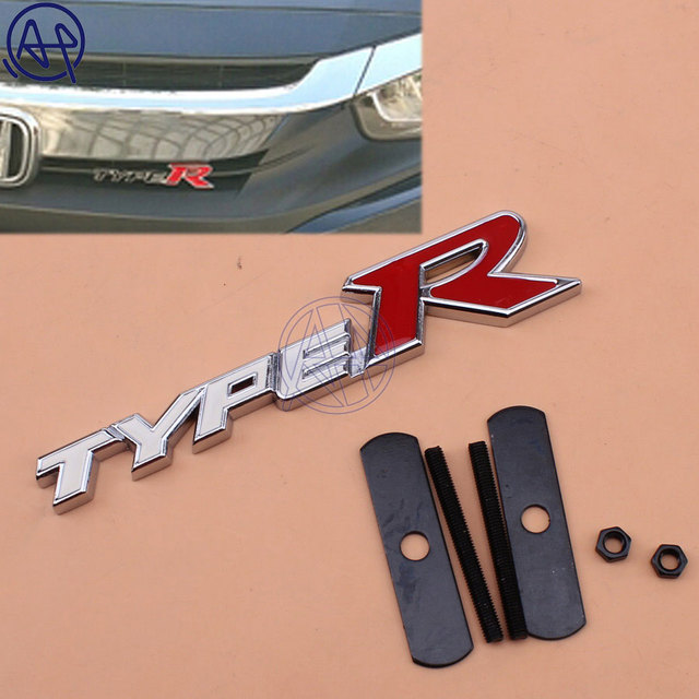 Universal For Honda Car Styling Metal White Red Typer Logo Front