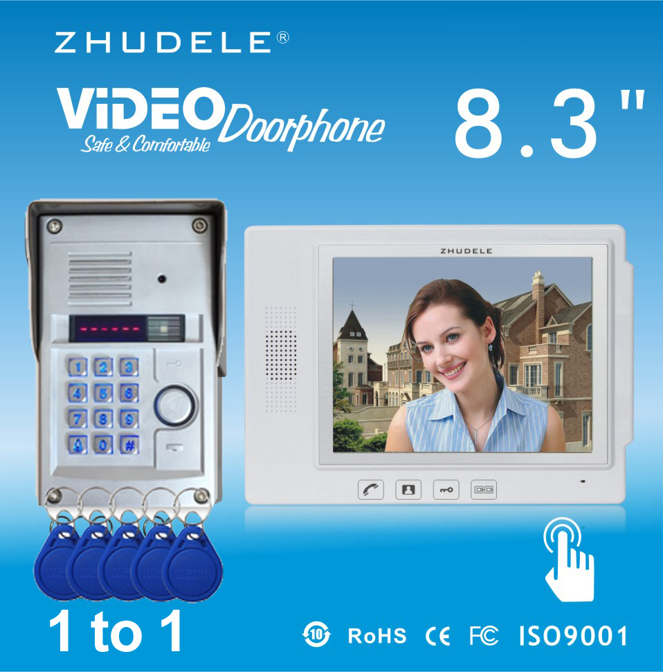 ZHUDELE Quality 8.3 Display Wired Video Door Phone Touch Key Doorbell Intercom & Night Vision 700TVL HD Home SecurityCCD Camera