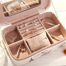 Корейский стиль органайзер для макияжа, Большая вместительная кожаная коробка для хранения, органайзер для косметики, органайзер для косметики, контейнер для ювелирных изделий