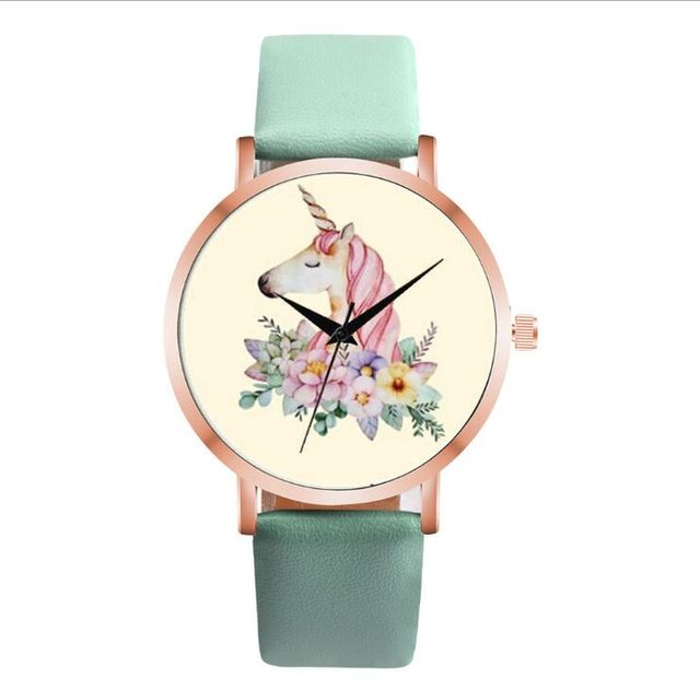 Fashion Cute Unicorn Animal Watch Women Girl Leather Strap Analog Quartz Watch F