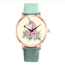 Fashion Cute Unicorn Animal Watch Women Girl Leather Strap A