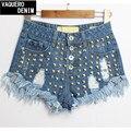 Джинсы 2015 новых прибыть середина хлопок женщин заклепки горячие джинсы короткие среза настоящее рода размер 32 - 42 талия джинсовые шорты для женщин Sl019b
