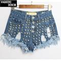 Jeans 2015 nuevo llega el mediados de algodón de las mujeres del remache caliente pantalones vaqueros de corte Real ordenar tamaño 32-42 Denim Shorts de talle alto para para Sl019b