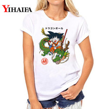 Women Harajuku Cartoon 3D Print T Shirt Dragon Ball Z Female Tee shirt Funny Tops Son Goku Anime White T-shirts Streetwear