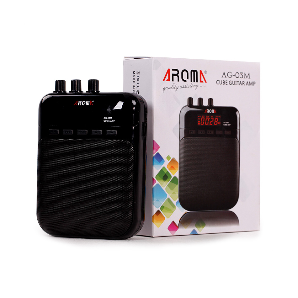 Aroma AG-03M 5W MINI Portable Guitar Amp Recorder Speaker TF Card Multifunction With Distortion & Clear Guitar Amplifier EQ Play t050 3w mini portable retractable stereo speaker w tf black golden 16gb max
