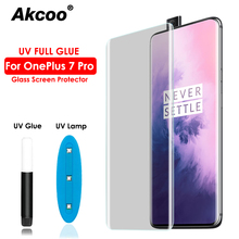 Akcoo Full transparent 10D glass for OnePlus 7 Pro screen protector with fingerprint Unlock UV glue full cover