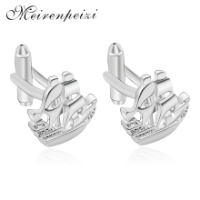 Meirenpeizi Fashion Exquisite Copper Zircon Mens Cufflinks Silver Color Ship Model Jewelry High Quality