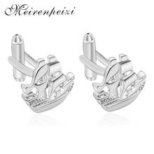 Meirenpeizi Fashion Exquisite Copper Zircon Mens Cufflinks Silver Color Ship Model Jewelry High Quality